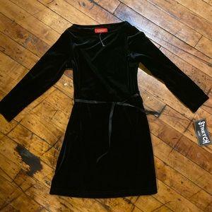 Girls New Black Stretch Velvet Esprit Dress